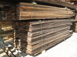 sawn and steamed antique timber boards